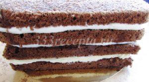 <p>Таким образом собираем весь торт, верхний корж пропитываем, но ничем не смазываем.</p>