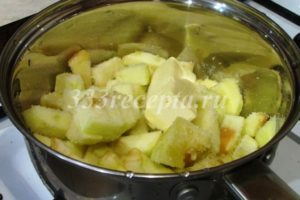 <p>Пока остывает карамель, займёмся яблочной начинкой. Яблоки очищаем от семян и кожуры и нарезаем небольшими кусочками. Смешиваем в сотейнике с 50 г сахара и начинаем томить на среднем огне.</p>