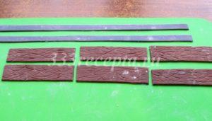 <p>Из желатиновой мастики заранее готовим рельсы, шпалы, колёса для поезда, чтобы к моменту сборки они уже подсохли.</p>